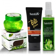 Nutriglow1 BB Cream (50 ml)+ 1 Aloevera Gel (100 gm) + 1 Green Tea Morning Freshness Skin Toner(120 ml)