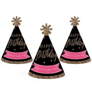 Big Dot of Happiness Chic Happy Birthday - Pink, Black and Gold Mini Cone Party Hats Small Little Set 10