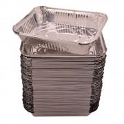 Caserole Aluminiu,100 Buc/Set, 222x173x45 mm, 1150 ml, Dreptunghiulare, Caserola Aluminiu de Unica Folosinta, Caserola pentru Catering, Caserole pentru Fast-Food, Caserole Dreptunghiulare de Aluminiu, Set de Caserole din Aluminiu, Vesela Unica Folosinta