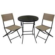 Set mobilier gradina, terasa, masa rotunda cu 2 scaune pliante, bej, Bistro, MN0195202, Hascevher