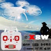 SYMA X8W Drone WiFi FPV En Tiempo Real Quadcopter RC 4CH 6Axis Girocompás 2.4G Cámara De 2 MP Blanco Enchufe De La UE
