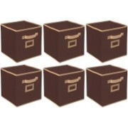 Billion Designer Non Woven 6 Pieces Small Foldable Storage Organiser Cubes/Boxes (Coffee) - CTKTC35143 CTLTC035143(Coffee)