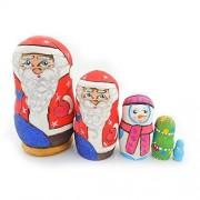 Wooden Santa Claus Nesting Doll Snowman Christmas Tree 3 3/4 Inch
