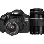 CANON EOS 1300D Zwart + EF-S 18-55mm + EF 75-300mm + 16GB + Irista + Tas