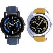 Fancy Yellow Sports Strap And Awesome Blue Sport Dial Analogue Men's Combo Wrist Watch By Vivah Mart