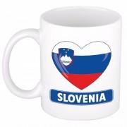 Bellatio Decorations Sloveense vlag hartje theebeker 300 ml