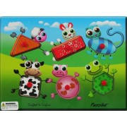 Puzzled Peg Puzzle Farm Animals Shapes Wooden Toys