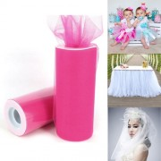 Fashion Tulle Roll 20D Polyester Wedding Birthday Decoration Decorative Crafts Supplies Size: 160cm x 25cm (Fluorescent Red)