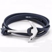 Kék Bőr Horgony Karkötő