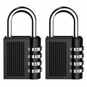 Combination Lock Security Padlock Kungix Heavy Duty Padlocks 4 Digit Resettable Locker Code Lock Black Pack of 2