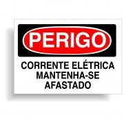 Perigo corrente elétrica mantenha-se afastado com opção em vinil adesivo ou placa
