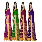 Stylezone Multicoloured Poly Cotton Silk saree Combos (Combo Of 4) combo243