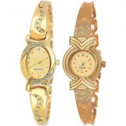 Kds Gold Oval And X Model Women And Gilrs Analog Watch