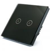 Intrerupator dublu smart Vhub cu touch, panou sticla, Wifi integrat 2.4GHz, compatibil Google Alexa, negru