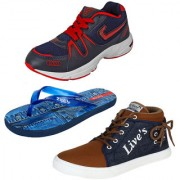 Bersache Men/Boys Combo pack of 3 Sports Shoe With Casual Shoes and Sandals