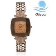 Oleva Women Fashion Rose Gold Black and Gold Dial Metal Analog Watch OMW-11-BLACK GOLD
