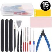 Findfly 15Pcs Gundam Modeler Basic Tools Craft Set Model Tools Kit for Professional Hobby Model Assemble Building