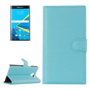 For Blackberry Priv Litchi Texture Horizontal Flip Leather Case with Magnetic Buckle & Holder & Card Slots & Wallet(Blue)