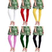 Jakqo Women's Cotton Plain Long Length Legging (Free Size Pack of 6 White Red Light Yellow Baby Pink Green Black)