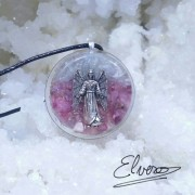 Arhanghelul Chamuel pandantiv cu agatatoare de argint, celestit, cuart roz, angelit, cuart fumuriu, rodocrozit, lepidolit, turmalina roz