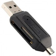 Oxza USB 2.0 + Micro USB OTG SD T-Flash Adapter for Cell Phone PC Card Reader (Black)