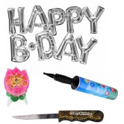 De-Ultimate Set Of Balloon Air Pump HAPPY B.DAY Alphabets Foil Balloons Cake Candle Knife For Birthday Party Decoration