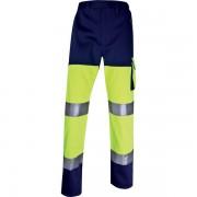 Pantaloni da lavoro Delta Plus - 401711 Pantaloni da lavoro in cotone 46% poliestere 260 g/mq strisce retro-riflettenti cucite taglia l di colore giallo fluo/blu in confezione da 1 Pz.
