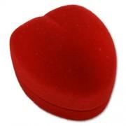 Piros szív alakú gyűrű ékszer doboz piros belsővel