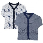Krivi Kids Dark Blue Color Set of 2 Front Open Full Sleeve Cotton Top For Baby Boys And Baby Girls .
