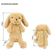 Mr. Bear & His Friends Cute Bunny Plush Animals Rabbit Soft Toys Half-Stuffed Rabbits Dolls Purses Kids Children Toys Openable on the Back - Brown
