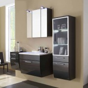 Badezimmer Kombination in Hochglanz Anthrazit LED Beleuchtung (4-teilig)