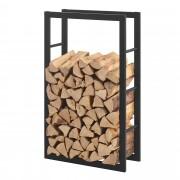 [en.casa] Stalak za Drva 60x100x25cm Držač za Drva za Ogrjev - Okvir Čelik Crni