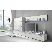 Lifestyle4Living Anbauwand 7-tlg. Hochglanz weiß, 2 x TV-Element, 3 x Hängeschrank, 3 x Zwischenelement, 2 x Glasbodenpaneel, Mindestb.: ca. 300 cm, Tiefe: ca. 40 cm