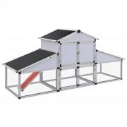 vidaXL Птичарник с места за движение и за гнездене, алуминиев