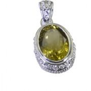 Riyo A Lemon Quartz 925 Solid Sterling Silver Sparkly Pendant L 1.5in Splqu-46027