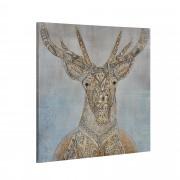 [art.work] Dekorační obraz na stěnu - jelen 2 - plátno napnuté na rámu - 80x80x3,8 cm