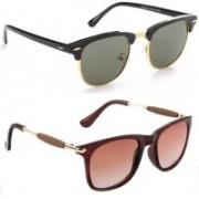 SRPM Clubmaster, Wayfarer Sunglasses(Brown, Green)