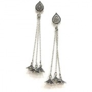 Digital Dress Women's Oxidized Earrings Indian Traditional Light Weight Kashmiri Oxdized German Silver-Plated Dangle with Long Drop Star Jhumki Studded Earring for Women & Girls Fashion Jewellery