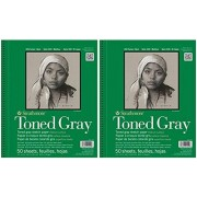 """Strathmore 2-Pack 412-109 400 Series Toned Gray Sketch Pad, 9""""x12"""" Wire Bound, 50 Sheets Each"""