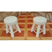Scaun taburet alb - set 2 bucati - miniatura