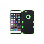 Funda Case para Iphone 6s / Iphone 6 Doble Protector de Uso Rudo-Negro con Verde