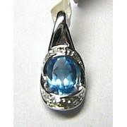 Luxusní diamantový přívěs s diamanty (6ks) a velkým modrým topazem (blue topaz)