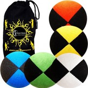 5x Pro Thud Juggling Balls - Deluxe (SUEDE) Professional Juggling Ball Set of 5 with Fabric Travel B