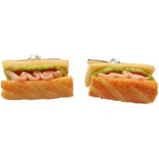 Miniature French Bread With Ham And Lettuce Kitsch Food Cufflinks