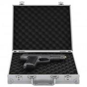 vidaXL Куфар за пистолет, алуминий, ABS, сребрист