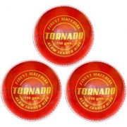 KK Sports Cricket Leather Balls in Alum Tanned Hide - Tornado Quality Red color Pack of 3 Hand Stiched 50-overs Life