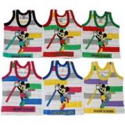Dazzle New Born Baby Inner wear Regular Fit Cotton Baby Printed Baniyan Cartoon Prints Vest Combo of 6