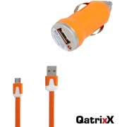 Mini USB Auto Lader Car Charger oranje + platte Micro USB datakabel 3 meter voor Huawei P9 Lite