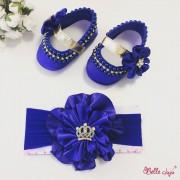 bellejuju Sapatinho de bebe customizado azul com fita de flor