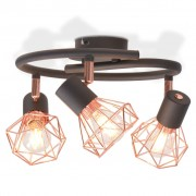 Sonata Лампа за таван с 3 спота, E14, черно и мед